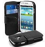 Cadorabo Coque pour Samsung Galaxy S3 Mini Noir DE Jais Housse de Protection Etui Portefeuille Cover pour S3 Mini – Stand Horizontal et Fente pour Carte