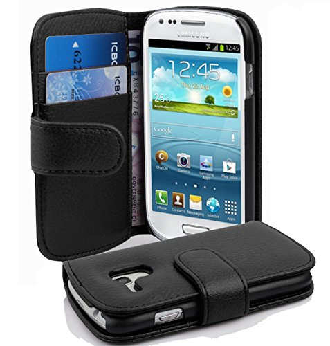 Cadorabo Hülle kompatibel mit Samsung Galaxy S3 Mini Hülle in Oxid SCHWARZ Handyhülle mit Kartenfach aus struktriertem Kunstleder