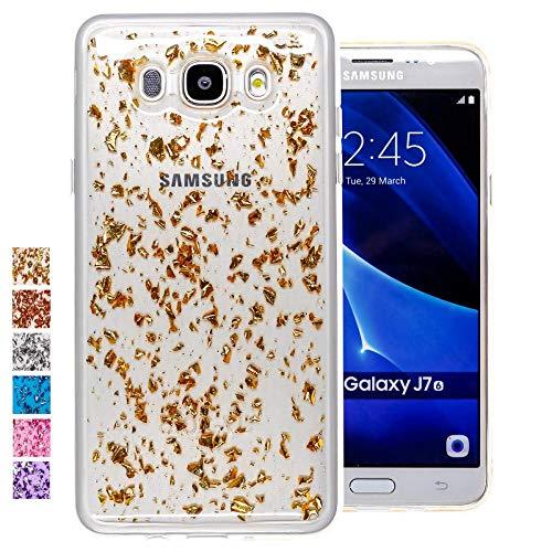 COOVY® Funda para Samsung Galaxy J7 SM-J710 / SM-J710FN / SM-J710F/DS (Model 2016) Carcasa Trasera, Muy Fina, de Silicona TPU, en diseño Brillante   Color Oro