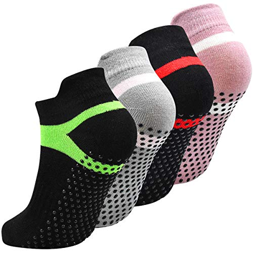 Fodlon Calcetines Yoga Antideslizantes 35-43, Calcetines Pilates Negro para Mujer Hombre, Calcetines Deporte Algodón para Correr, Gimnasia, Ballet, Fitness