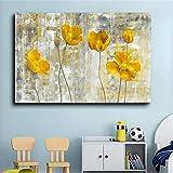 YCCYI Abstrakte gelbe Blumen Leinwand Malerei Wandkunst