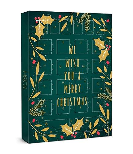 TOSH Adventskalender in grün mit Goldener Aufschrift: We Wish You a Merry Christmas (701-025)