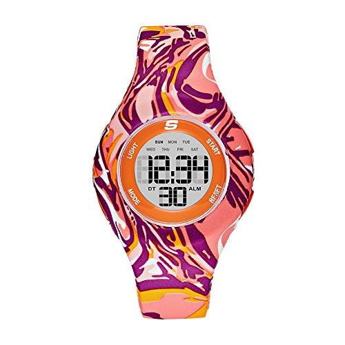 Skechers Women's Spreckles Digital Silicone Chronograph Watch, Color: Purple/Orange Swirl (Model: SR6110)