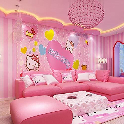Hellokitty Katze Tapete hochwertige Umwelt moderne Kindertapete Wandbild Mädchen rosa Schlafzimmer Kindergarten Papierpaste Grenze Wirkung unter Schlafzimmer430cm×300cm