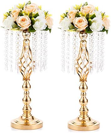 2 Pcs 19 3 inches Gold Centerpieces Table Tall Crystal Flower Stand Wedding Road Lead Tall Flower product image