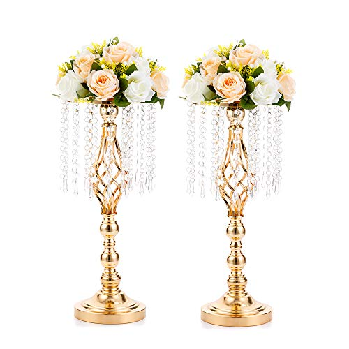 NUPTIO 2 Pcs Gold Vases for Centerpieces, 49cm Tall Crystal Flower Stand Wedding Road Lead Flower Holders Centerpiece, Crystal Flower Vases Metal Flower Stand for Reception Tables Wedding Decor