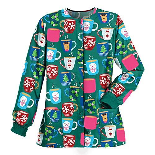VRTUR Damen V-Ausschnitt Weihnachten Schlupfhemd Kasack mit Motiv Bedruckt Kurzarm/Lange Ärmel T-Shirts Tops Arbeitsuniform Weihnachts Thanksgiving Bluse Große Größe(S-3XL)