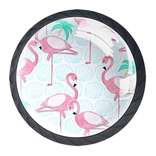 Tirador de manijas de cajón Perillas decorativas del gabinete del cajón Manija del cajón del tocador 4 piezas,Flamingo Animal Tropical Coconut Tree