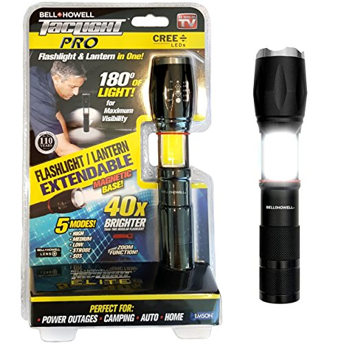 """TACLIGHT PRO by Bell+Howell 5.4"""" LED Lantern and Flashlight in-1 with Zoom, Magnetic Base, Anodized Aluminum Construction Perfect for Camping, Emergency, Power Outage As Seen On TV - 40x Brighter"""