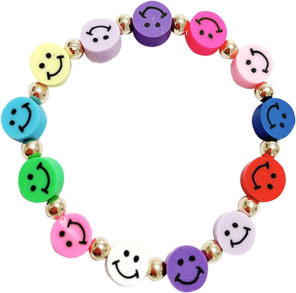 Polymer Clay Beads Bracelet Smiley Face Flower Pearl Rainbow Y2K Handmade Cute Elastic Beaded Bracelet for Women Girls