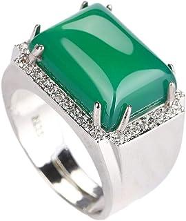 yigedan Natural Green Jade Ring Square 925 Silver Finger Circles Adjusted