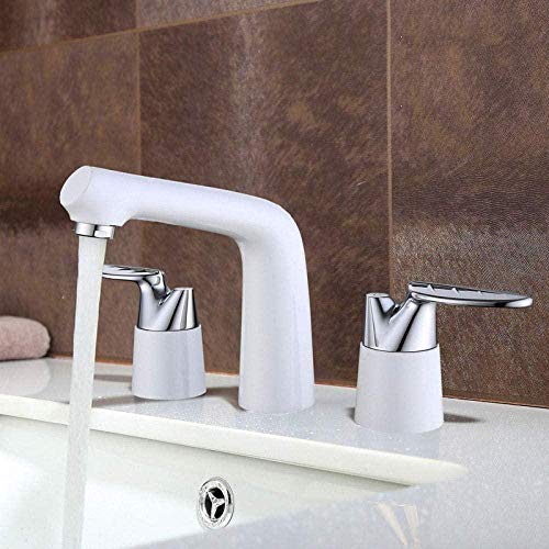 Rubinetto Taps Leaf Design Deck Mounted Dual Handle Three Holes Widespread Bathroom Basin Faucet Brass Washbasin Cold And Hot Water Mixer Tap