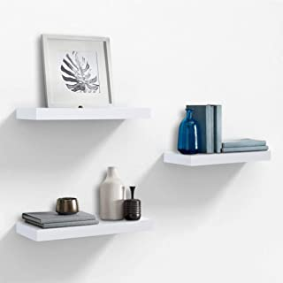 AHDECOR White Floating Wall Mounted Shelves, Set of 3 Display Ledge Shelves Wide Panel for Bedroom Office Kitchen Living Room, 5.9