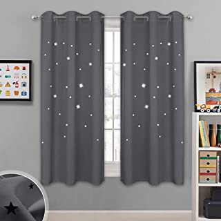 NICETOWN Blackout Star Curtains for Kids - Hollow Out Star Shaped Room Darkening Window Drapes for Space Themed/Nursery/Boys Room Decor (2 Panels, 42 inches Wide x 63 inches Long, Grey)