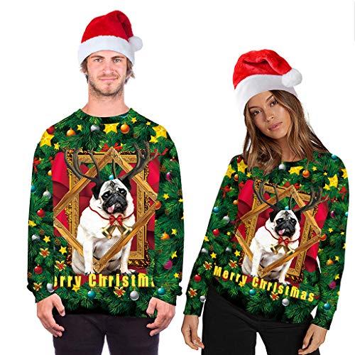 Unisex Christmas Hooded Sweatshirt for Women Men Animal Printed Long Sleeve Hoodeies Pullover Casaul Loose Tunic Tops Yellow