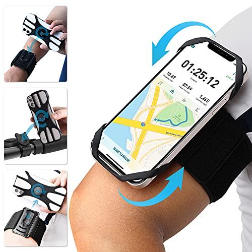 ANGGO Brazalete Deportivo para Correr, 3 en 1 Brazalete Movil con Soporte Móvil Bicicleta, 360°Rotación Porta Movil Running Compatible con 4.5' - 7',Samsung,Huawei ,Xiaomi etc
