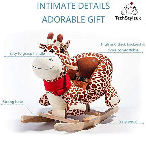 Techstyleuk® Animal Baby Rocking Horse Children Toy Seat Giraffe with 32 Songs Ride Wood UK