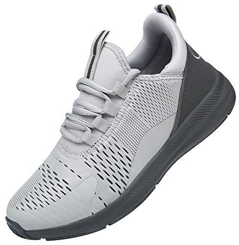 KOUDYEN Turnschuhe Laufschuhe Atmungsaktiv Leichte Sportschuhe Mesh Fitness Sneaker für Herren Damen XZ476-LightGrey-EU44