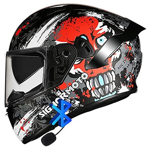 Bluetooth Integrado Casco de Moto Modular,Casco de Moto Doble Visera,Dot/ECE Homologado Casco de Moto Integral,para Motocicleta Bicicleta Scooter Mujer y Hombre Casco de Cara Abierta C,XXL=(62~63)