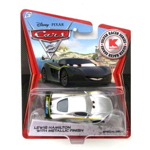 Disney Pixar CARS 2 Exclusive 1:55 Die Cast Car SILVER RACER Lewis Hamilton With Metallic Finish