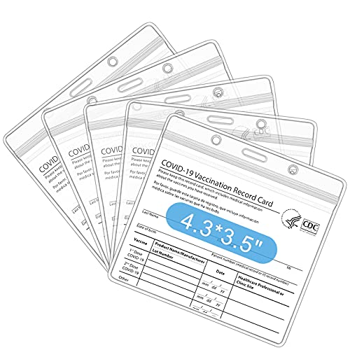 5 Packs-CDC Vaccination Card Protector for Business Travel, 4.3X3.5 Inches Waterproof Sealed Vaccination Card Protector, Plastic Transparent CDC Vaccination Card Protector