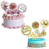Decoración para tartas de cumpleaños - YUESEN 2 juegos de adornos para tartas de feliz cumpleaños, abanicos de papel, pancartas, globos de confeti, adornos dorados para cupcakes (oro, oro rosa)