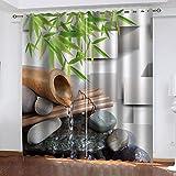 ZDPLL Cortinas de Sala de Estar Agua de bambú Cortina Opacas com ilhós 3D, Cortina Opaca, Cortina térmica, adequadas para Sala 2x140x175CM