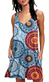 BISHUIGE Summer Casual Dresses Women Floral Beach Cover up X-Small,FL Mix Blue