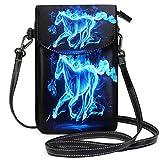 XCNGG Sac pour téléphone portable Running Horse Blue Cell Phone Purse Wallet for Women Girl Small Crossbody Purse Bags