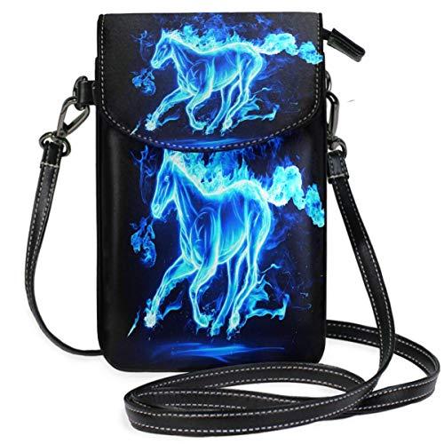 XCNGG Kleine Geldbörse Running Horse Blue Cell Phone Purse Wallet for Women Girl Small Crossbody Purse Bags