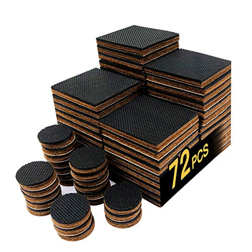 """Non Slip Furniture Pads 48 PCS 2"""" HN STG Furniture Gripper,24 Pieces 1inch Anti Skid Round Rubber Pads.Best Self Adhesive Square Pads Protector Hardwood Floors.for Chair Sofa Bed (48 Square+24 Round)"""