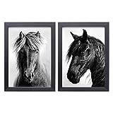 Design Pferde Poster 2er Set - Schwarz Weiß Wand-Poster DIN A3 - Kunstdrucke auf Premiumpapier mit oder ohne Bilder-Rahmen - Wand-Deko für Kinderzimmer, Baby-Zimmer oder Mädchen-Zimmer (mit Rahmen)