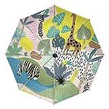Paraguas de viaje compacto con diseño de jirafa, para exteriores, para el sol, para el coche, plegable, para el viento, toldo reforzado, protección UV, mango ergonómico, apertura y cierre automático