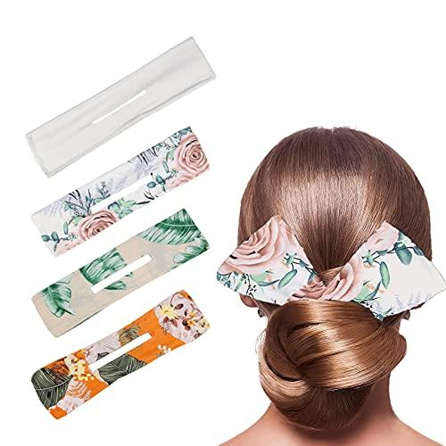 MOGADEE 4 Stück Haarknotenmacher, Hair Bun Maker, Classy Multicolor Cloth Magic Clip, Magic Hair Bun Maker French Twist, Duttmacher (Floral C)