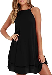 Wintialy Women Strappy Loose Casual Solid Short Mini Dress Summer Beach Dress Plus
