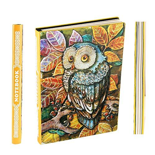Notizbuch - A5 Retro Tagebuch Hardcover Skizzenbuch Journalbuch Travel Diary Sketchbook Klassischer Zeichenblock mit Eule-Muster liniert Papier