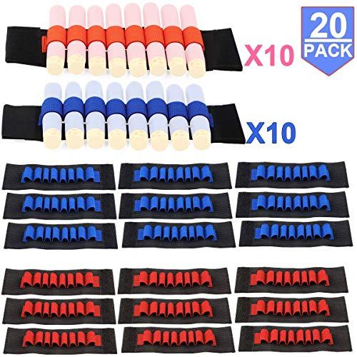 Compatible with Nerf Guns Darts - 20 PCS Party Supplies Toy Gun Accessories Wrist Ammo Holders EVA Soft Bullets Gun Wrist Belt Band Strap Compatible with Nerf N-strike Elite Series Blasters (No Darts)