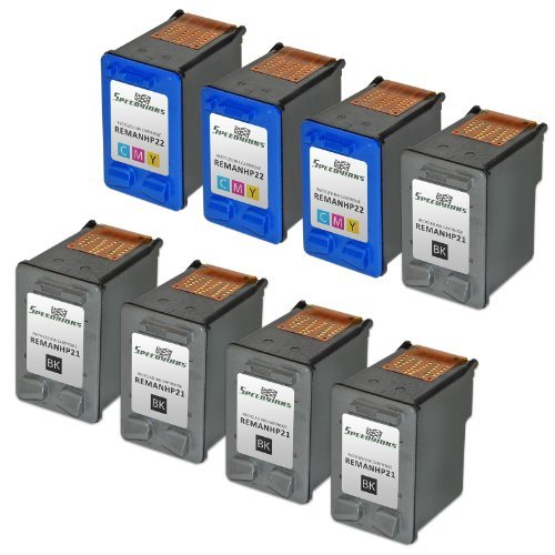 Speedy Inks Remanufactured Ink Cartridge Replacement for HP21 and HP 22 (5 Black, 3 Color, 8-Pack)