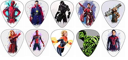 Avengers Guitar Picks [Featuring Captain Marvel and other Marvel Characters](10 Medium Gauge Picks in a Pack)