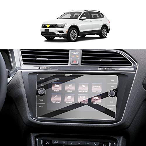 Screen Protector Foils for 2018-2020 Tiguan Navigation Display Anti-Explosion Tempered Glass 9H Hardness Anti Glare & Scratch HD Clear LCD GPS Touch Screen Protective Film (8In)
