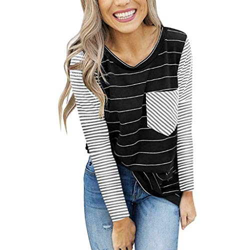 Great Features Of Women Tunic Blouse Striped Long Sleeve Casual Color Block Pullover Tops O Neck T-S...