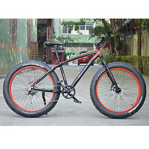 RNNTK Aluminum Alloy Bicycle Fat Bike Outroad Racing Cycling, Big Tires The Front and Rear Disc Brakes.Ultra-Light High.Outroad Mountain Bike,Men and Women Mountain Bike A -27 Speed -26 Inches