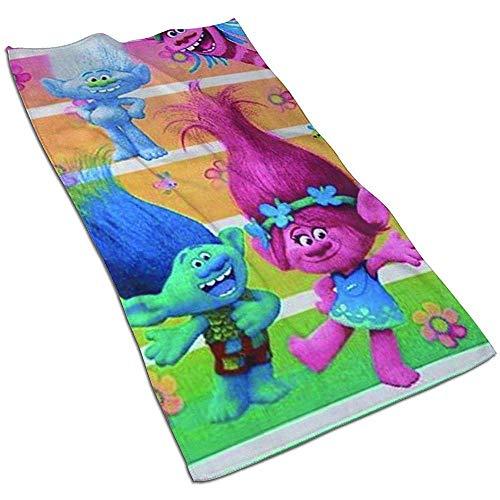 Snbin Trolls Toalla de Playa Toalla de Piscina Poppy Beach para niñas 80x130CM Toallas de Microfibra para Manos Toallas de Secado rápido Toallas Deportivas (40x70cm)