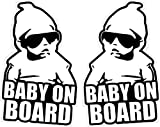 Rockmount Electronics (2 Pack) 6' x 3.75' - Baby On Board - Vehicle Car Window Security Safety Warning Caution Notice Label Decal Sticker - Back Self Adhesive Vinyl