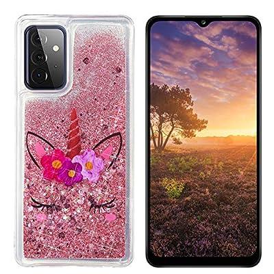 HopMore Glitter Funda para Samsung Galaxy A52 5G Purpurina Silicona Cover 3D Liquido Brillante Dibujos Transparente Carcasa Resistente Antigolpes Case Protección - Unicornio