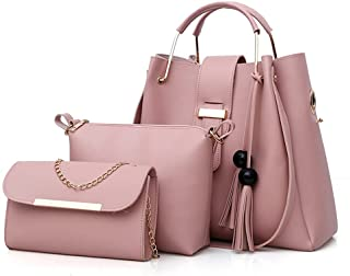AioTio 3 Pack Women Totes Sets,Tassel Ball Decoration Soft PU Leather,Tote Bag Shoulder Bags Crossbody Bag.(Pink)