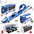 CUTE STONE Police Car Toys, Police Vehicle Truck With Sound & Light, Long Sliding Track, 5 Pack Mini Die-cast Rescue Vehicles and a Plane, Play Vehicle Set Gift for Kids Girls & Boys by Cute Stone