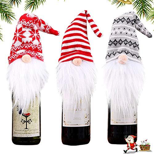 WELLXUNK Weihnachten Flaschen Deko Party Restaurant Weinflasche Flaschenanzug Flaschenüberzug Weihnachtsmann Hut Flaschebeutel Flaschetasche Geschenk (A)