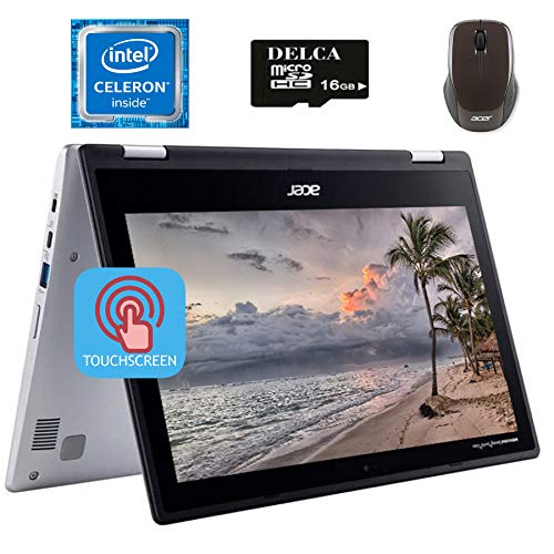 Acer Spin CP311 2020 Premium 2 in 1 Chromebook I 11.6' HD IPS Touchscreen I Intel Celeron N4000 I 4GB DDR4 64GB eMMC 256G SD Card I WIFI Webcam Acer Wireless Mouse Chrome OS + Delca 16GB Micro SD Card