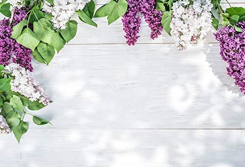 Telones de Fondo Cumpleaños Boda Tablero de Madera Flores de Primavera Borla Tablones Decoración Fotografía Fondo Estudio fotográfico Photocall A38 10x10ft / 3x3m